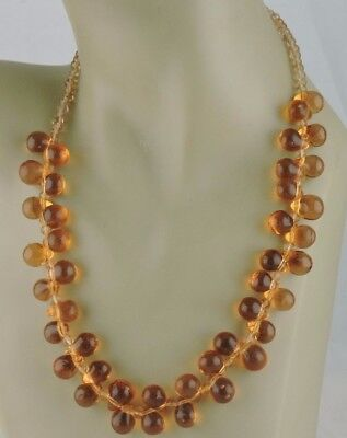 Drops Vintage Glass Bead Strand - VINTAGE NECKLACE TEARDROP DROP UNPOLISHED AMBER GLASS BEAD RARE STRING STRAND