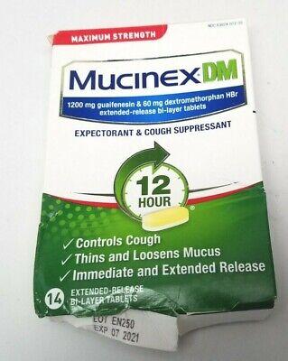 Mucinex DM 12-Hour Expectorant & Cough Suppressant Max Strength 14 Ct EXP 8/2020 Mucinex Dm Expectorant