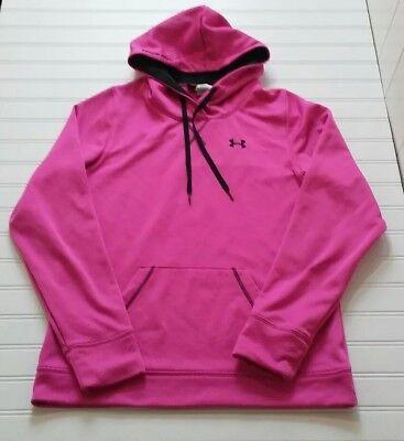 Under Armour Medium Hoodie Sweatshirt Loose Fit Pink Waffle Knit Womens Athletic