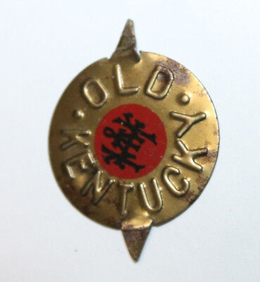 Vintage Old Kentucky Tin Tobacco Tag Embossed Gold