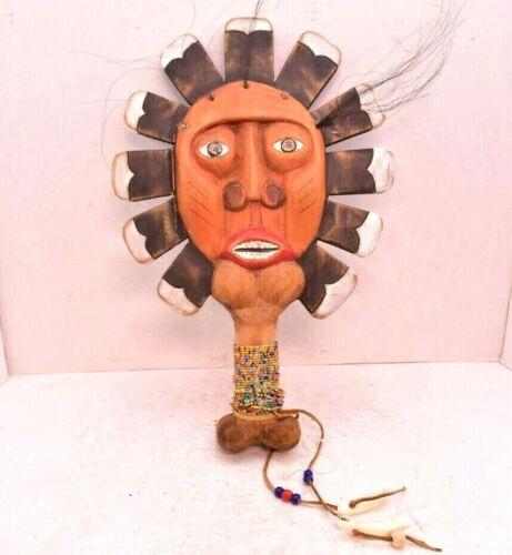 NORTHWEST COAST First Nations Kwagiulth Speaker Mask Hand Held Paddle Antique