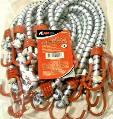 Bungee Cord Heavy Duty 12 Pc. 18 Inch 1.5 Ft. Red Hook Tie Down Strap
