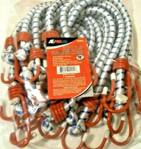 """BUNGEE CORD HEAVY DUTY 12 PC. 18"""" INCH (1.5 FT.) RED HOOK TIE DOWN STRAP"""