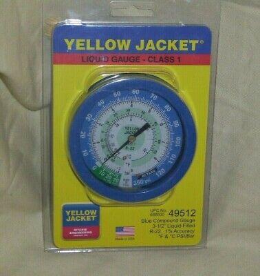 Yellow Jacket Liquid Gauge Class 1 - 49512 New 3-12 Liiquid Filled R-22