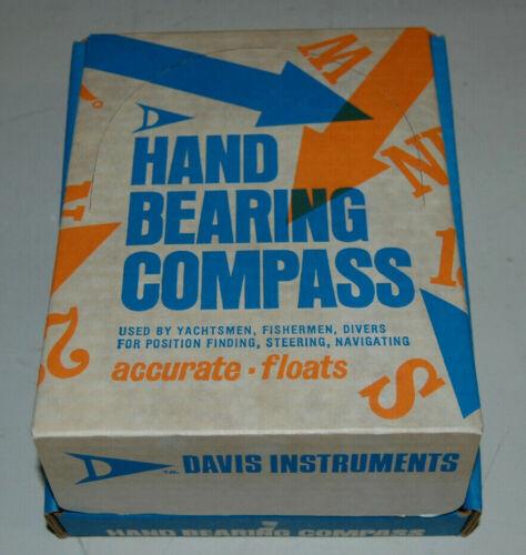 Vintage Davis Instruments Nautical Hand Bearing Compass In Original Box