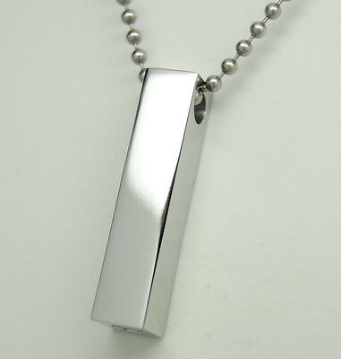 Unisex Style Cremation Urn Necklace in 316L Stainless Steel, Engraveable