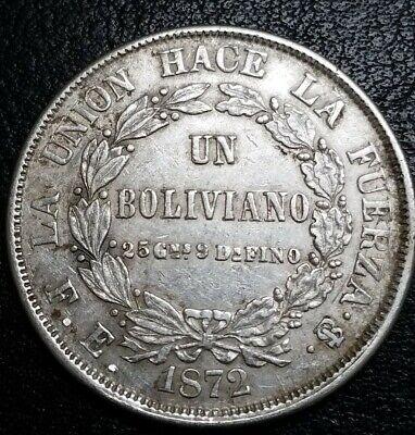 Bolivia (1) One Boliviano 1872 Potosi Mint Scare South America Silver Plata Coin