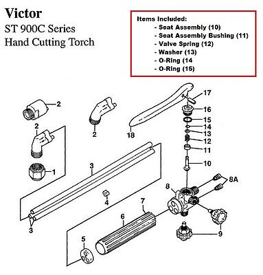 Victor St900c St900fc Cutting Torch Rebuildrepair Parts Kit