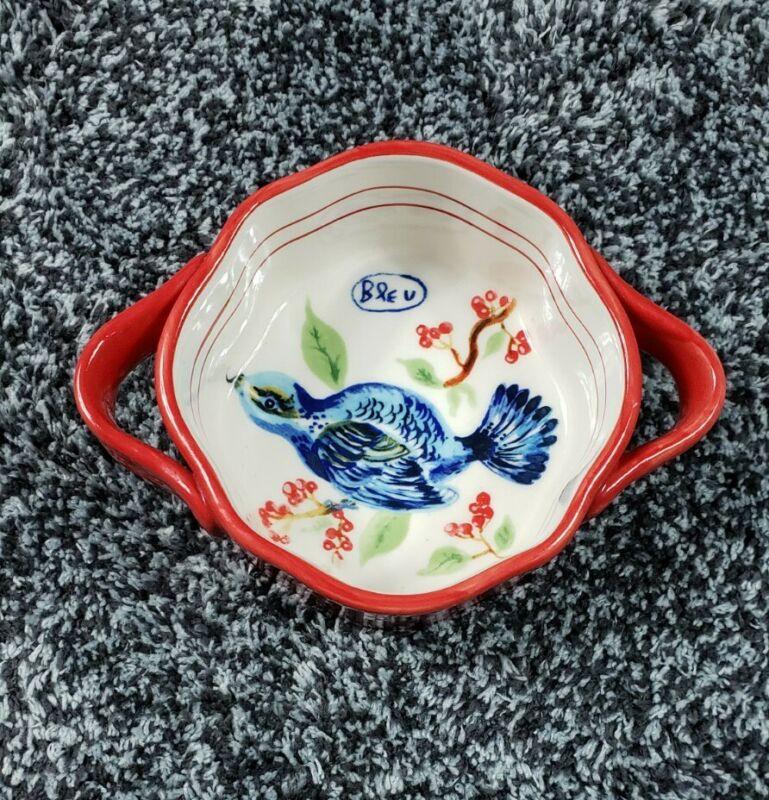 Anthropologie NATHALIE LETE Red Ramekin Bleu Blue Bird Bowl