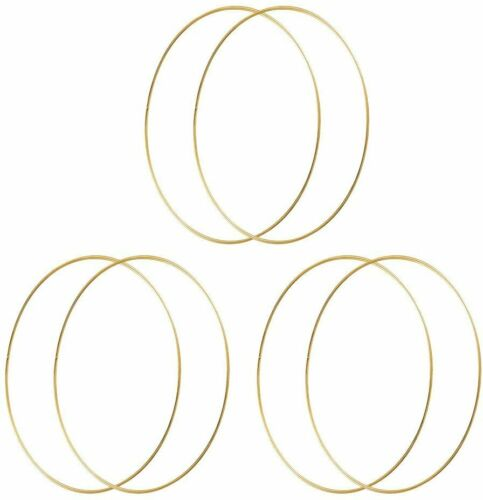 10 inch Metal Hoops Craft Gold Floral Wreath Macrame Rings Dream Catcher 6pcs