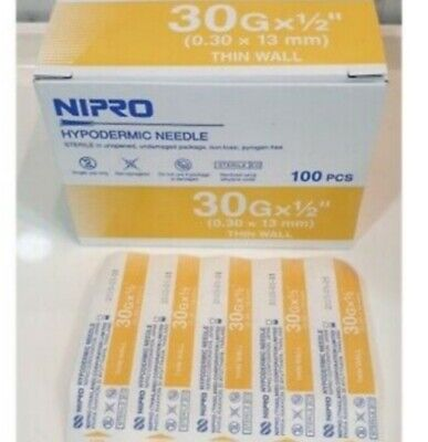 30g 12 Nipro Hypodermic Needle Thin Wall 0.3x13 Mm Sterile Lab Needle 100 Pcs