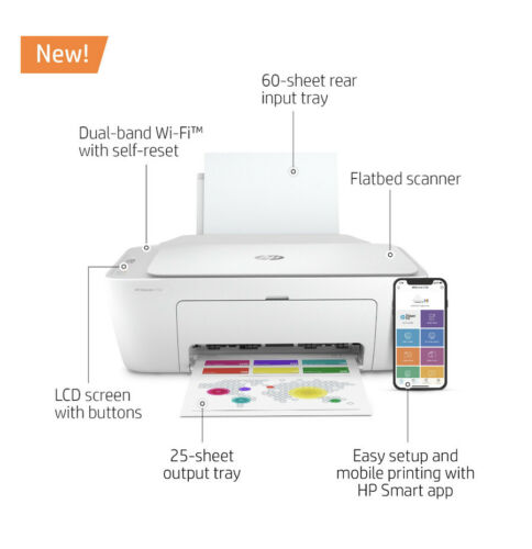 New HP DeskJet 2752 Wireless All-in-One Color Inkjet Printer