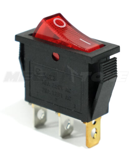 (1 PC) SPST ON/OFF Rocker Switch w/ RED Neon Lamp. 20A 125VAC... USA SELLER!