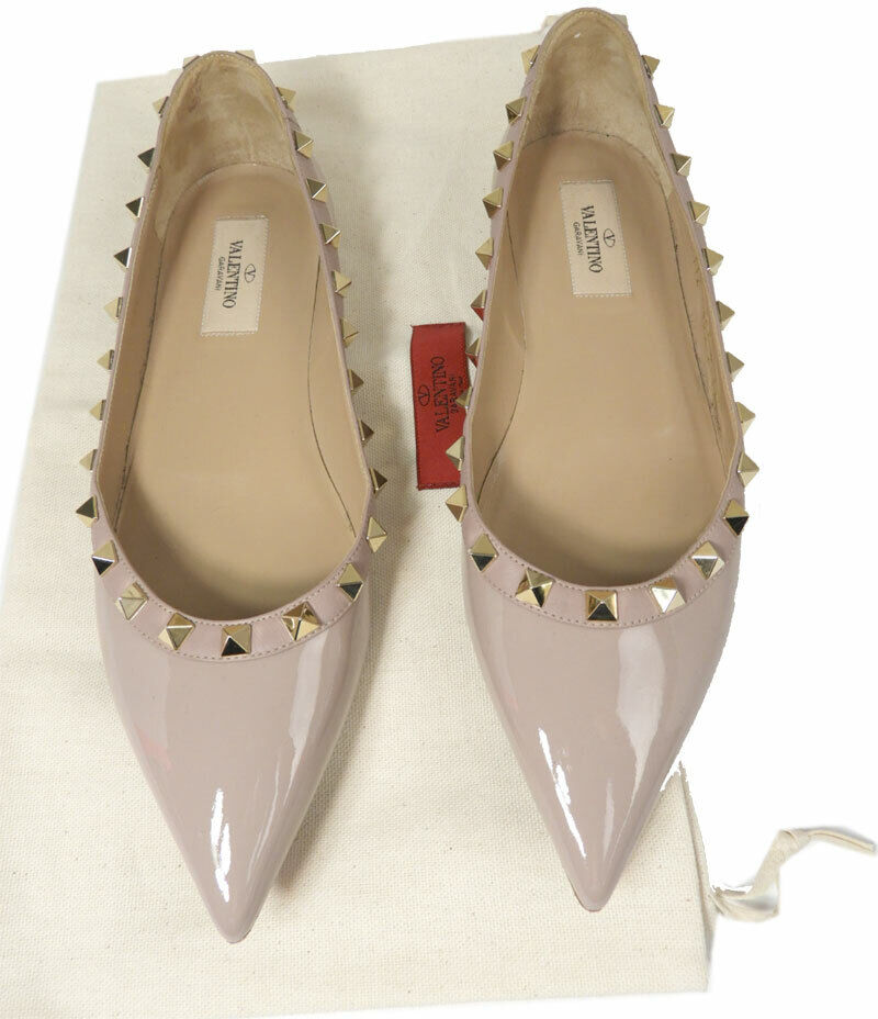 Valentino Rockstud Flats Beige Nude Paten Leather Pointy Toe Pumps Shoes 375