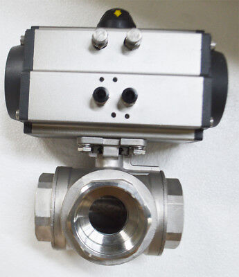 Npt 2 Double Acting 3-way Ball Valve Pneumatic Actuated Ball Valve New