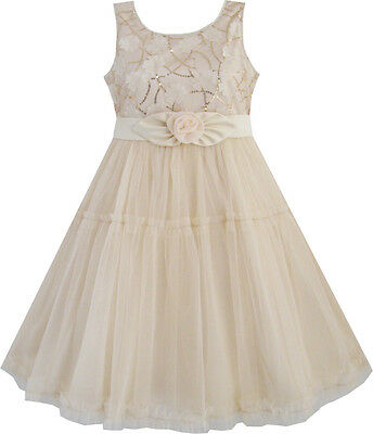 Girls Dress Shinning Sequins Beige Tulle Layers Wedding Pageant Kids Size 2-10](Girls Party Dress Size 10)