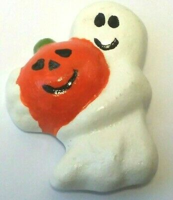 VINTAGE Halloween GHOST PIN With PUMPKIN White Handcrafted Ceramic SPOOKY CUTE!