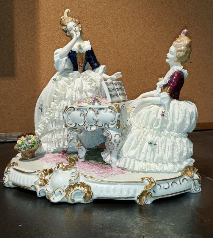 Large Unterweissbach German Porcelain Lace Figurine Two Ladies At A Piano.