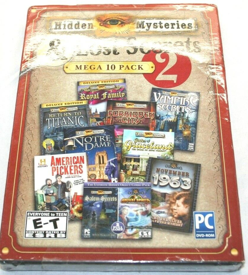 Computer Games - Hidden Mysteries & Lost Secrets Mega Pack PC Games Windows 10 8 7 XP Computer CD
