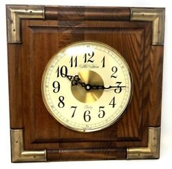 Vintage New Haven Wooden Brass Quartz Wall Clock w/ Convex Glass Dome