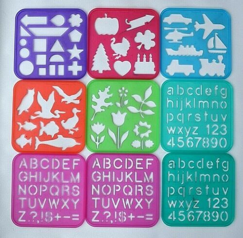 "TUPPERWARE Vintage 6"" x 6"" Plastic Stencils 1987 & 1990  Lot of 9"