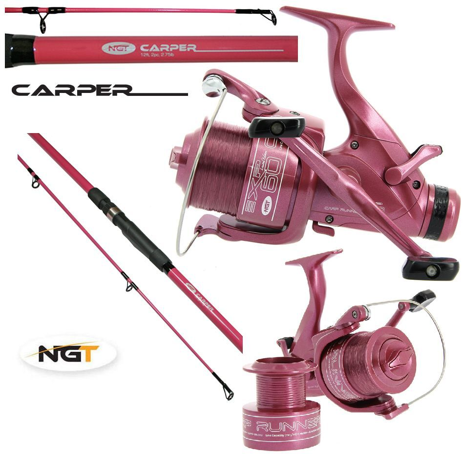 Ngt 12ft 2pc pink carp fishing rod pink double for Pink fishing reel