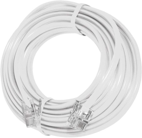 15 Feet Telephone Extension Cord Cable Line Wire, White RJ-11 By True Decor - $10.04