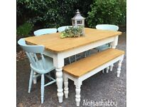 STUNNING NEW HANDMADE 5FT PINE FARMHOUSE TABLE BENCH AND CHAIRS