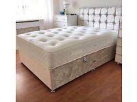 💖FULL ITALIAN DESIGN💖CRUSH VELVET DOUBLE DIVAN BED + SEMI ORTHOPEDIC MATTRESS