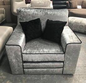 Silver crushed velvet armchair