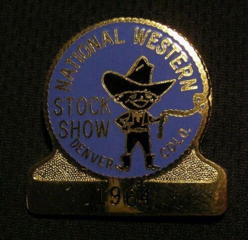 1964 NATIONAL WESTERN STOCK SHOW BADGE  DENVER CO Vintage Ranching Livestock Pin