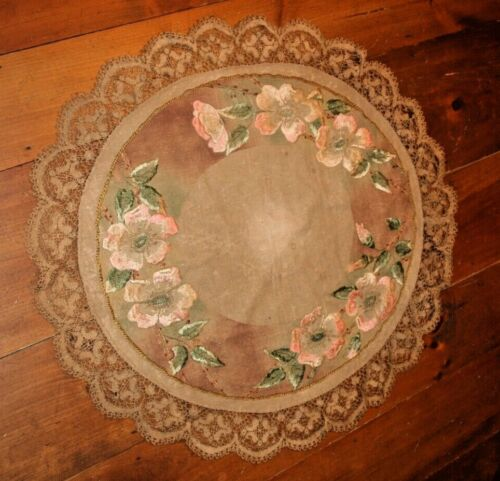 Antique MISSION ARTS & CRAFTS STICKLEY Linen Oval EMBROIDERED Tablecloth Topper