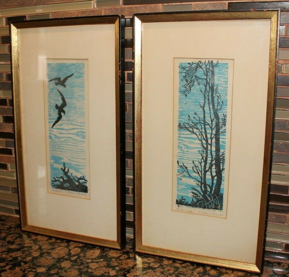 2 RARE ESTHER A. RICHARDS WOODBLOCK ART FIRST WOMEN TO DESIGN US STAMP IN 1934  - $625.00