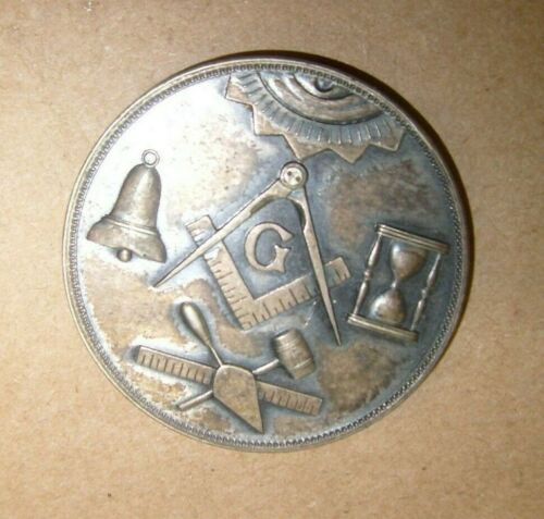 Vintage Masonic Made a Mason in Lodge Chapter Token Medal ID Coin Blank  - Metal