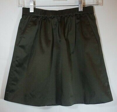Madewell Olive Green Satin Mini Skirt Size Small XS Lined Side Pockets Zip Back
