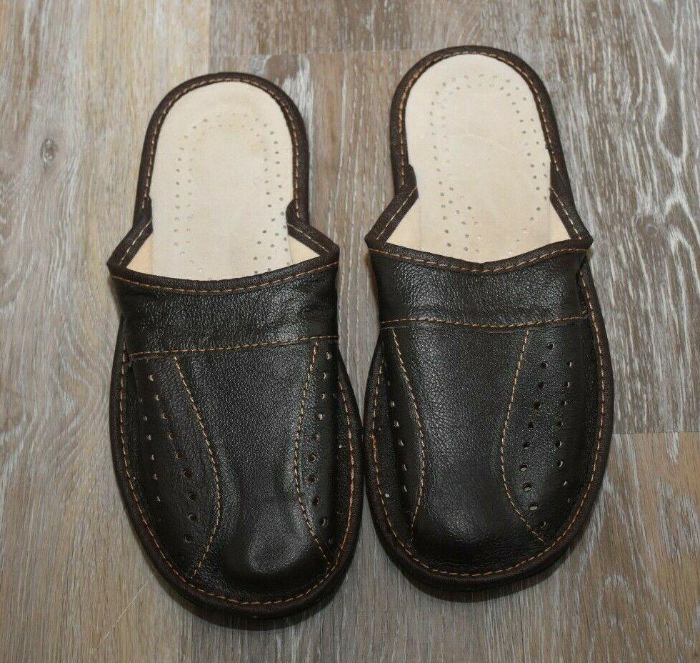 Leather House sheepskin Slide Scuff Slippers Men's Brown Com