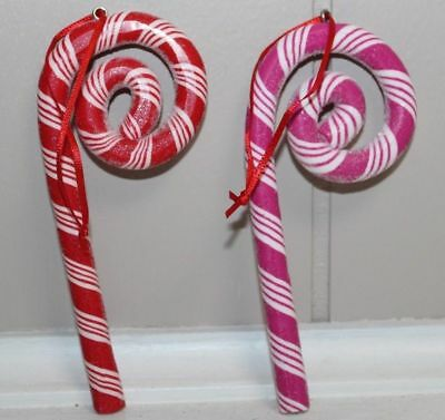 Red or Pink Candy Cane Clay Dough Christmas Ornaments