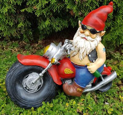 Gartenzwerg Biker auf Motorrad mit Bier Lederjacke Sonnenbrille Figur Rocker Neu