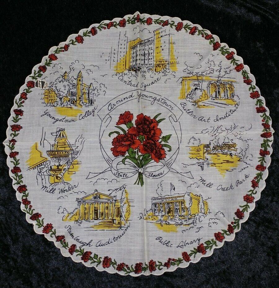 Vintage Youngstown, Ohio Souvenir Round Scarf With Original Mayfield Sticker - $12.00