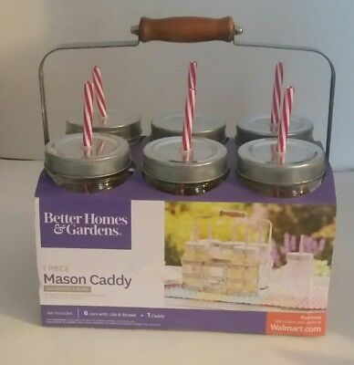 7 PC Mason  Drink Jars  with Straws,Lids, and a Galvanized - Mason Jars With Lids And Straws