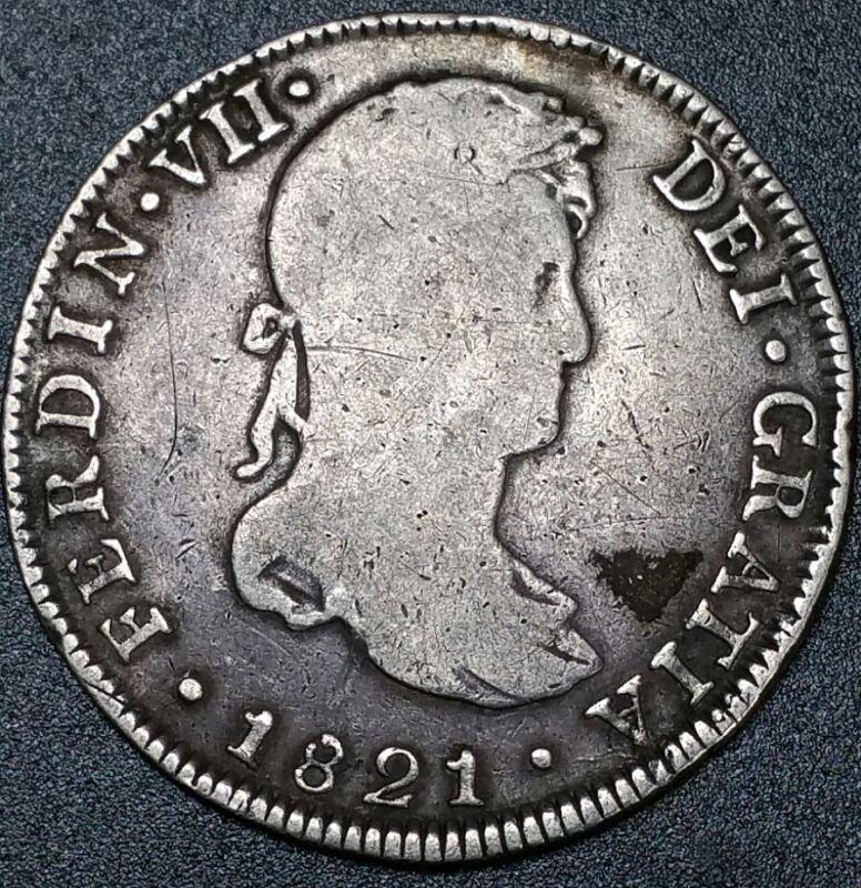 1821 JP Peru 4 Reale Milled Bust Ferdinand Dollar Rare Lima Mint Silver Cob Coin