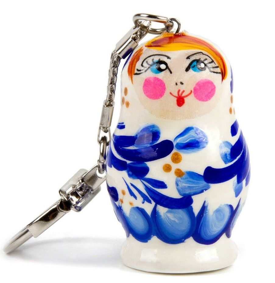 "1.5"" Nesting Doll Keychain. Hand Painted Gzhel Flowers Artwork. Key Chain"