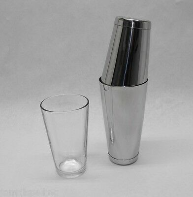3 Piece BOSTON SHAKER SET Glass & Dual WEIGHTED Tins Bar Cocktail Mixing Kit