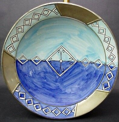 Studio Art Pottery Handmade & Painted Ceramic Bowl w Metal Accents Wall Art 16""