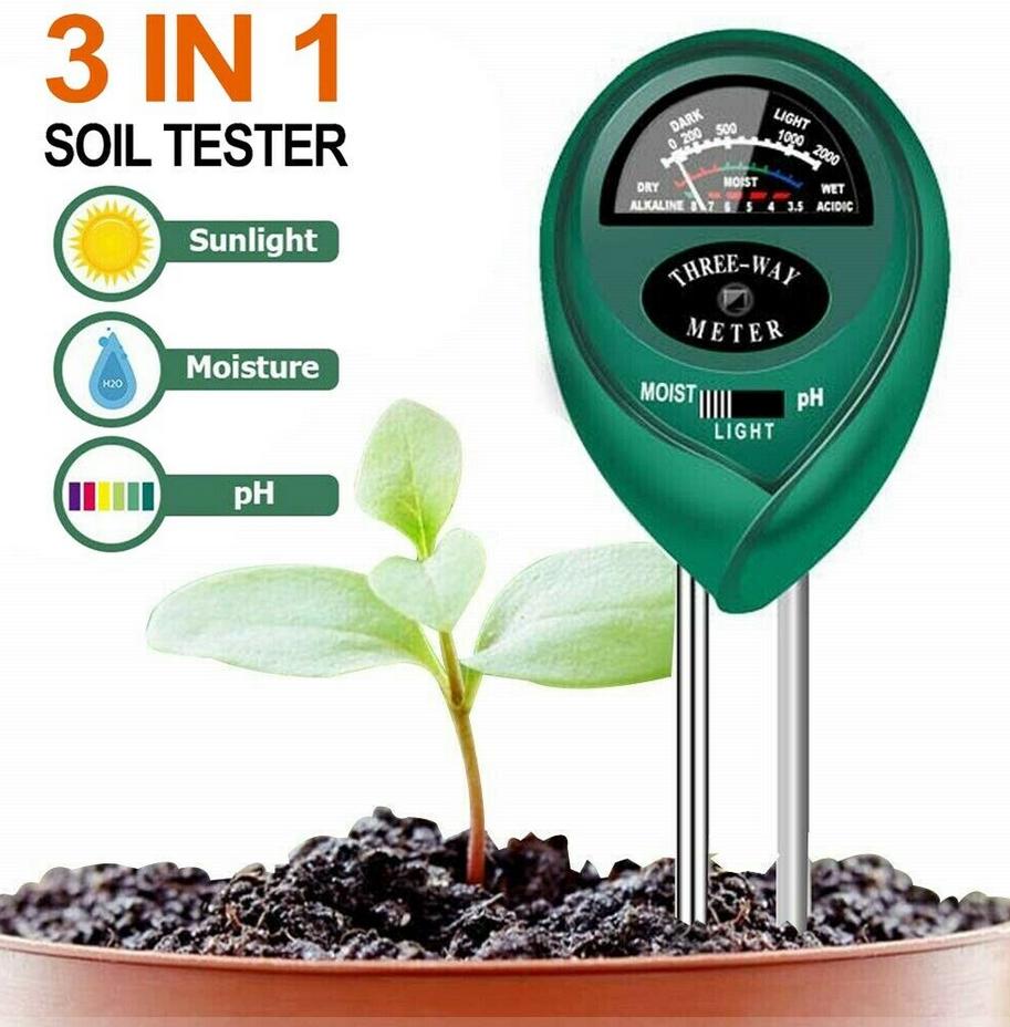 3 in1 Soil Tester Water PH Moisture Light Test Meter Kit For
