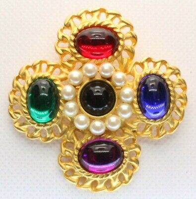Brooch Pin - Flower Filigree - Multi Color Acrylic Stones  Faux Pearls Gold Tone
