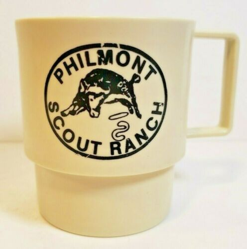 Vtg Small Plastic Philmont Scout Ranch Boy Scouts of America Coffee Mug Cup U