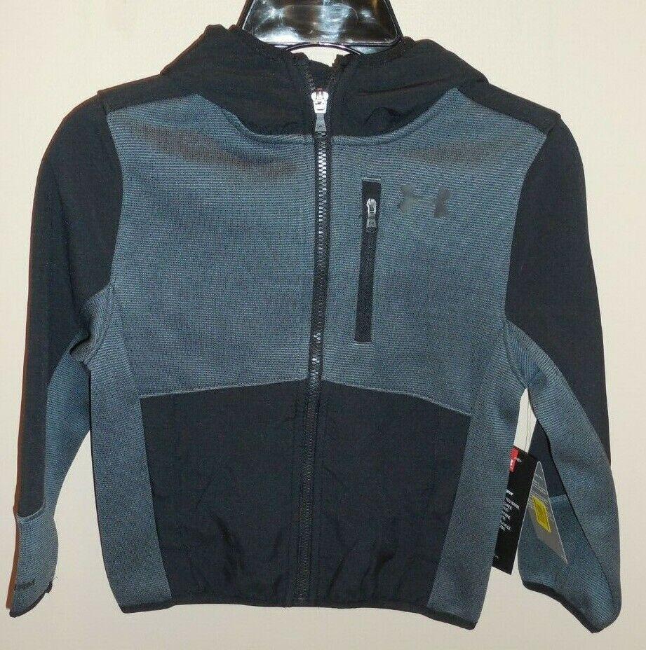 Under Armour Boys Size 4 Coat Hooded Jacket Black Grey New - $35.16