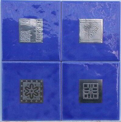 Set of 4 Ceramic Tile decors in Blue or Black with Platinum Highlights Set Ceramic Tile