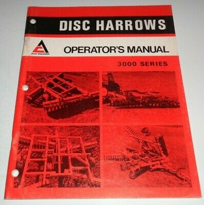 Allis Chalmers 3000 Series Disc Disk Harrow Operators Owner Manual Ac Original